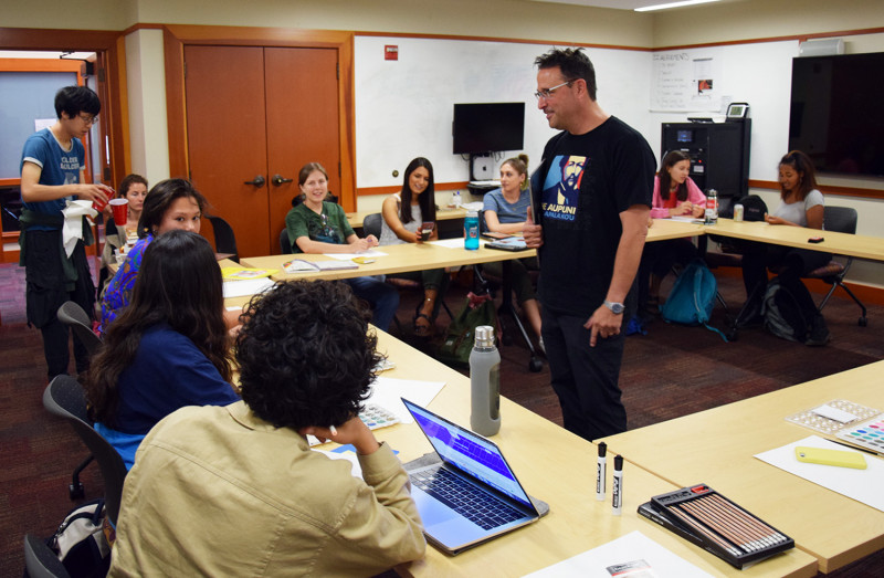 Anthropologist Mike Wilcox teaches an undergraduate course on Native American hi