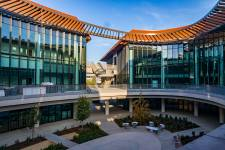 The Stanford ChEM-H Building on the left and the Stanford Neurosciences Building