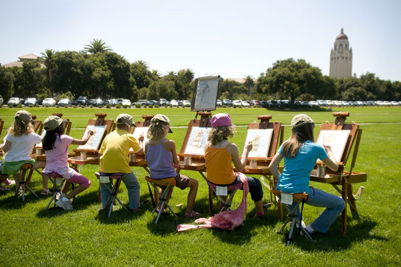 Campers like these young artists flock to the Stanford campus every year for sum