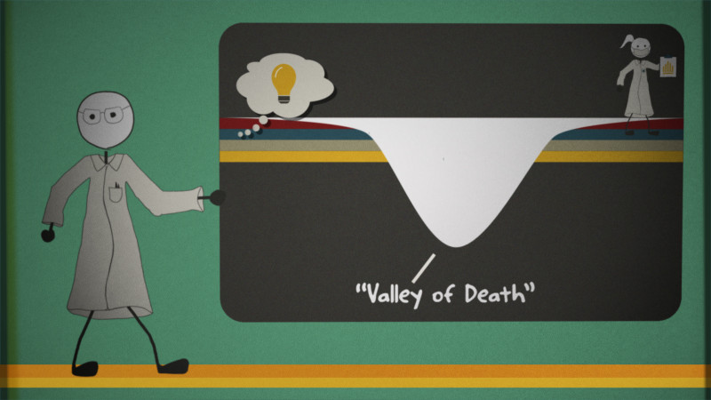 A 'valley of death' lies between a good idea in the lab and a drug t