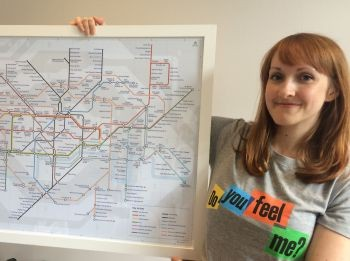 Natalie Bowling with a map of 'tastes', which is one of the props sh