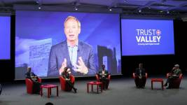 Microsoft President Brad Smith gave a keynote during the launch of the Trust Val