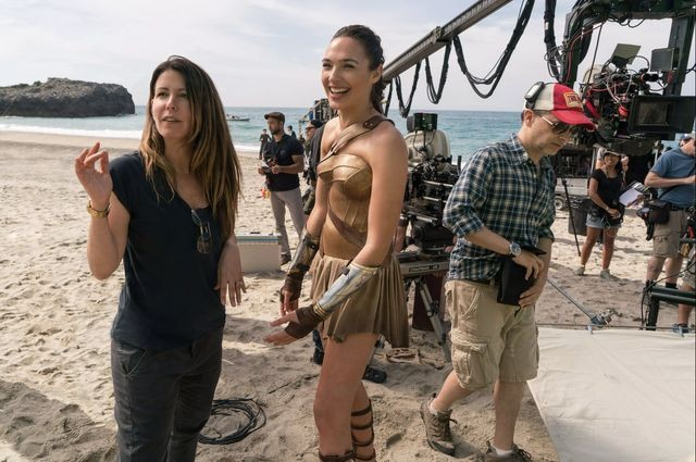 Warner Bros.  										 Director Patty Jenkins (left) and actor Gal Gadot on th