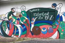 Mural from the campus of the National University of Colombia in Bogotá, titled '