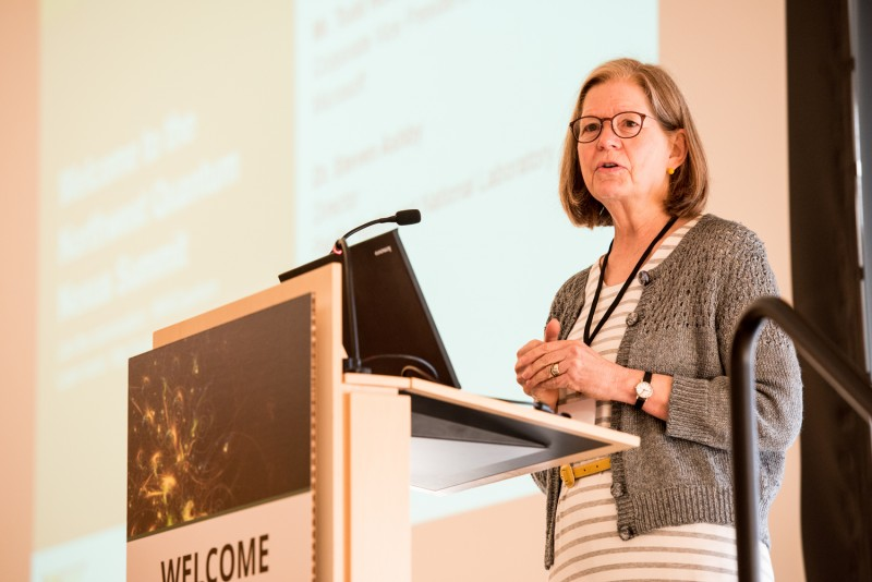 Mary Lidstrom, UW vice provost for research, speaking at the Northwest Quantum N