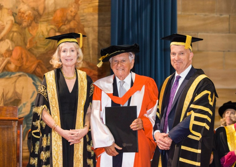 The Chancellor Belinda Hutchinson, former PM Bob Hawke and Vice-Chancellor Micha