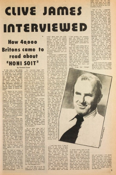 An interview with Clive James, as published in a 1981 edition of  Honi Soit. Cou