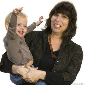 Alison Gopnik with grandson Atticus. (Photo by Ron Searcey)