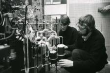 Scientists Colin Pillinger and Paul Abel analysing moondust