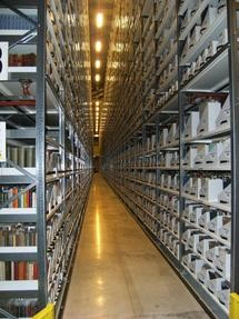 Filled shelves at the Bodleian Libraries Book Storage Facility at Swindon.