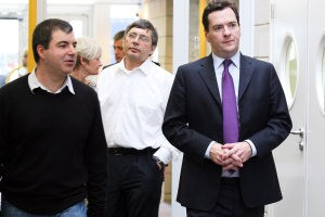 s Andre Geim and Kostya Novoselov with Chancellor George Osborne