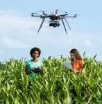 Student of Agricultural Sciences working for a research project with drones in t