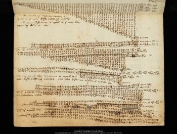 A digitised page of calculations made by Sir Isaac Newton. Image: University of